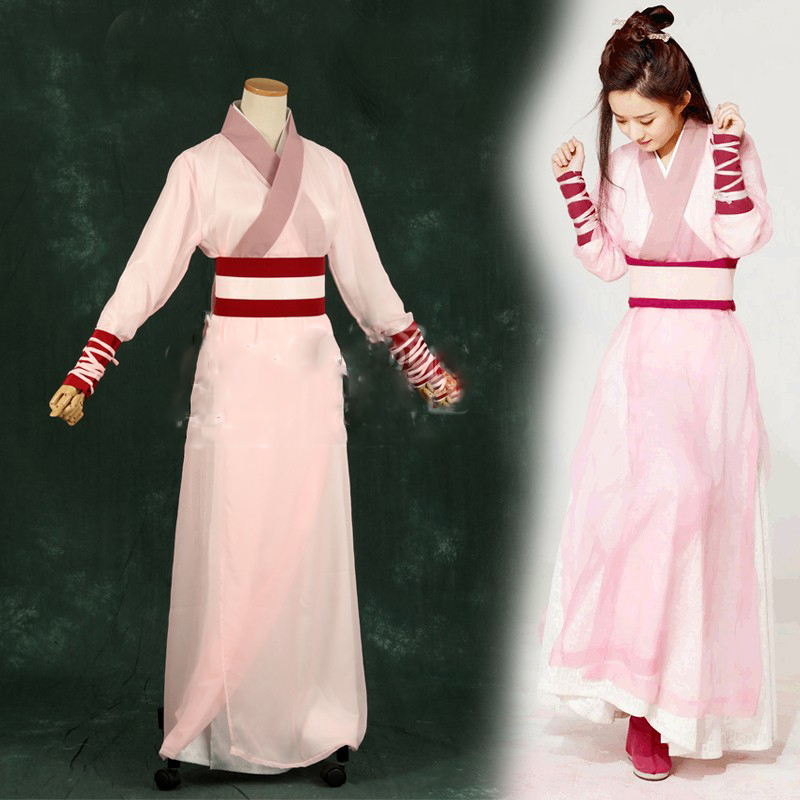 Zhao LiYing Pink Swordlady Costume Hanfu for Women Cosplay Costume for Newest TV Play Princess Agents