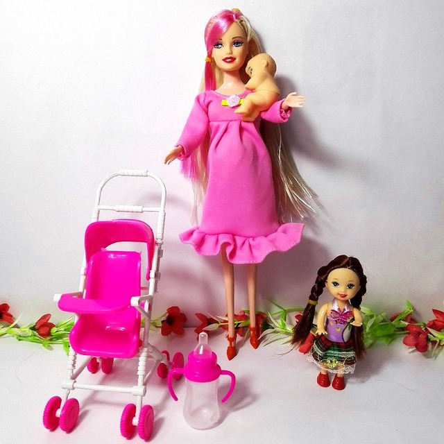 Hot Dollhouse Furniture Children Play House Sets For Pregnant Barbie Doll Baby Trolley Nursery