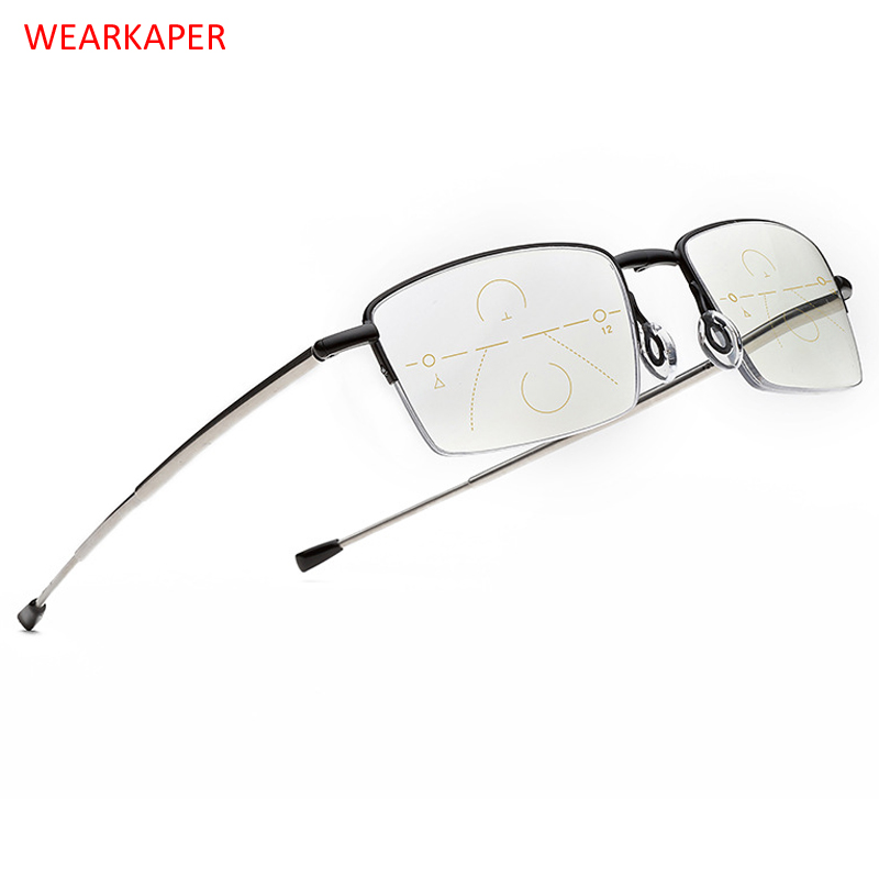 WEARKAPER Brand Progressive Lenes Folding Reading Glasses Telescopic Leg Anti Blue Ray Multi-Focal Presbyopia 1.0-4.0 Diopter