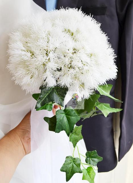 High quality diy new creative white dandelion bouquet bride high quality diy new creative white dandelion bouquet bride bridesmaid wedding hand holding flower bouquet photography mightylinksfo Images