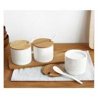 Creative Japanese Ceramic Seasoning Box Kitchen Seasoning storage Boxes Salt Boxes with Bamboo tray 3 pieces/set