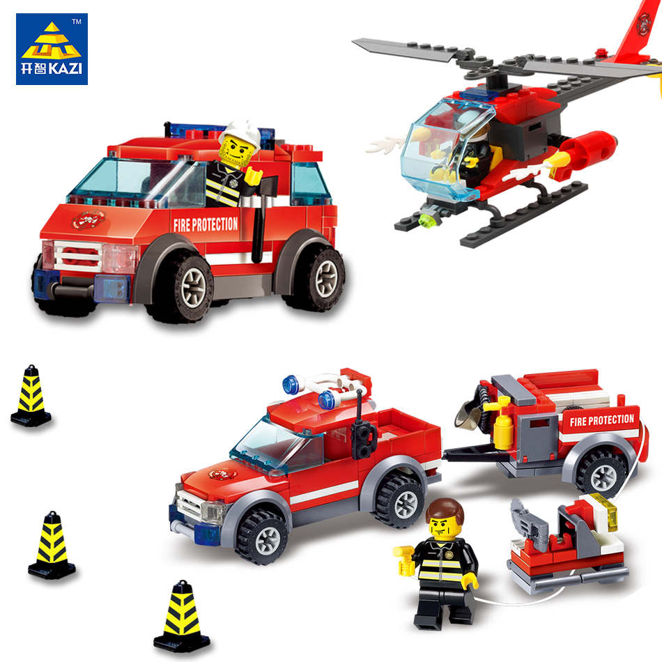 KAZI Fire Station Models Figures City Fire Building Blocks Bricks Compatible Legoe DIY Brinquedos Gifts Toys For Children Kids kazi toys 143pcs firefighting cew building blocks compatible legoe city diy bricks fire assembled toy fire truck toys for kids