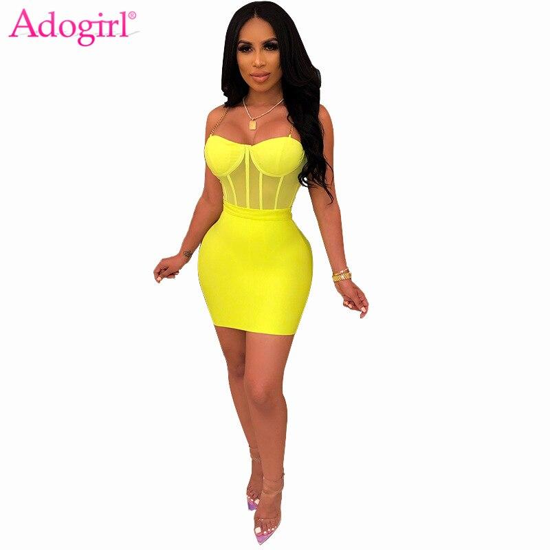 Adogirl Sexy Sheer Mesh Chain Spaghetti Straps Dress Two Piece Set Women Sleeveless Bodycon Mini Night Club Party Dress Vestidos