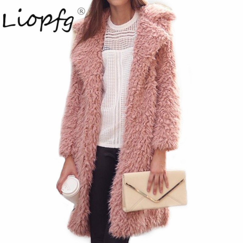 Hot winter new wool coat female jacket lapel furry in the long paragraph leisure comfortable cotton 3142