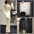 Crop Top Y Falda Set Venta de Bienes Bolsillos Llenos 2016 de gama Alta Custom Diseñador Y Cuello Alto Suéter De Lana + Falda Traje de Moda