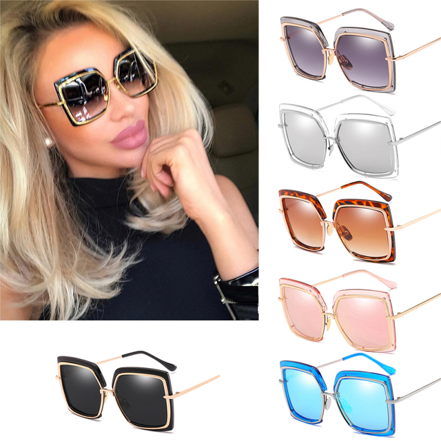 60e477bd38 2018 Women Oversized Sunglasses Metal Square Sun Glasses 2018 Brand Female  Shades Fashion Mirror Big Size