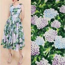 100X145cm Fashion Week Runway The Hydrangea Green Leaves Flowers Cotton Fabric for Woman Girl Summer Dresses DIY-AF211(China)