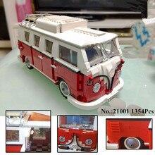 H HXY In Stock 1354Pcs 2017 New 21001 Volkswagen T1 Camper Van Model Building Kits Bricks
