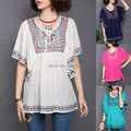 summer women's  large size neckline embroidered lace cotton ethnic style loose bat sleeve shirt