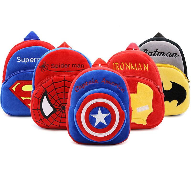 Disney Marvel Cartoon Plush Backpack The Avengers Figures Iron Man Spiderman Superman Cute Kindergarten School Bag For Kids Boy