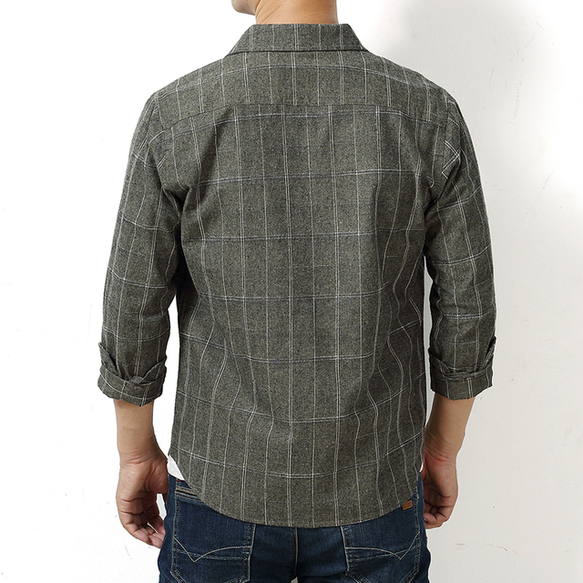 Autumn Plaid Cotton Long-Sleeved Men's Shirt 2