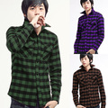 freeshipping men's Autumn and winter men's Army Green plaid shirts men thickening sanded slim men long-sleeve shirts no.tuan2507