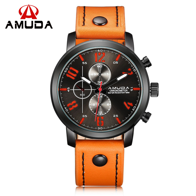 Hot Sale Men Wrist Watch AMUDA Brand Luxury Man Military Watch Leather Strap Outdoor Male Sport Watch Fashion Luminous Clock