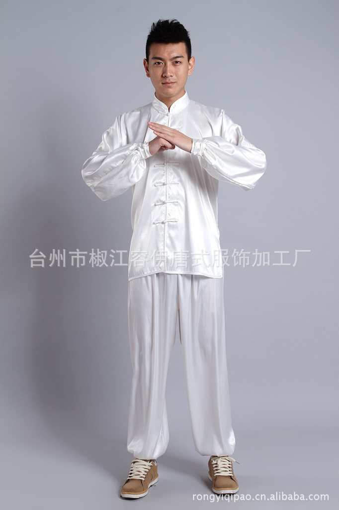 White Tradition Chinese Style Men's Silk Kung Fu Sets Jacket Pants Trousers Suit Size S M L XL XXL XXXL Free Shipping YR23658