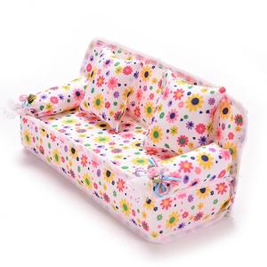Image 3 - 1Set Cute Miniature Doll House Furniture Flower Cloth Sofa With 2 Cushions For Doll Kids Play House Toys