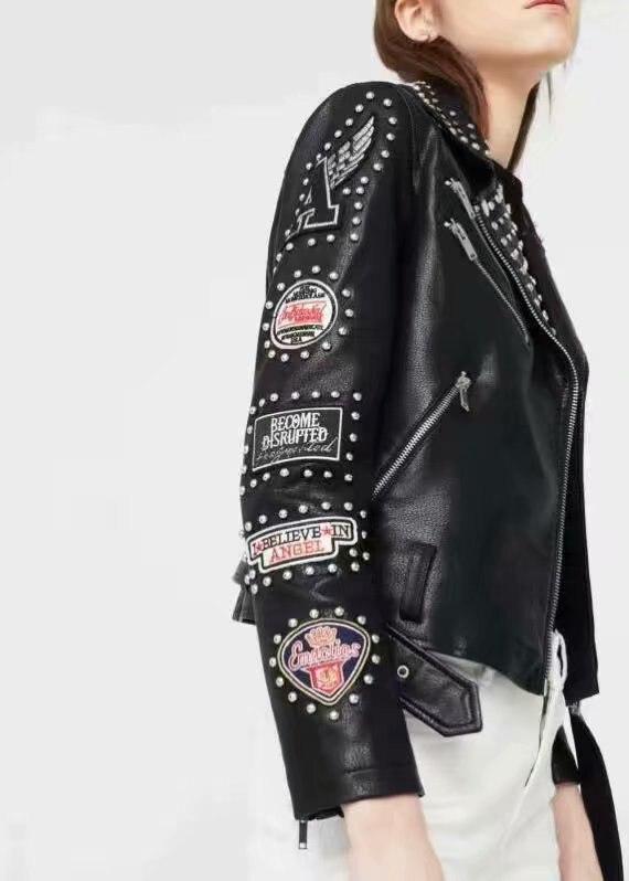 Women Rivet   Leather   Coat Zipper PUNK Rock Dark Metal Patch Embroidery Jacket Band Costumes Runway Show