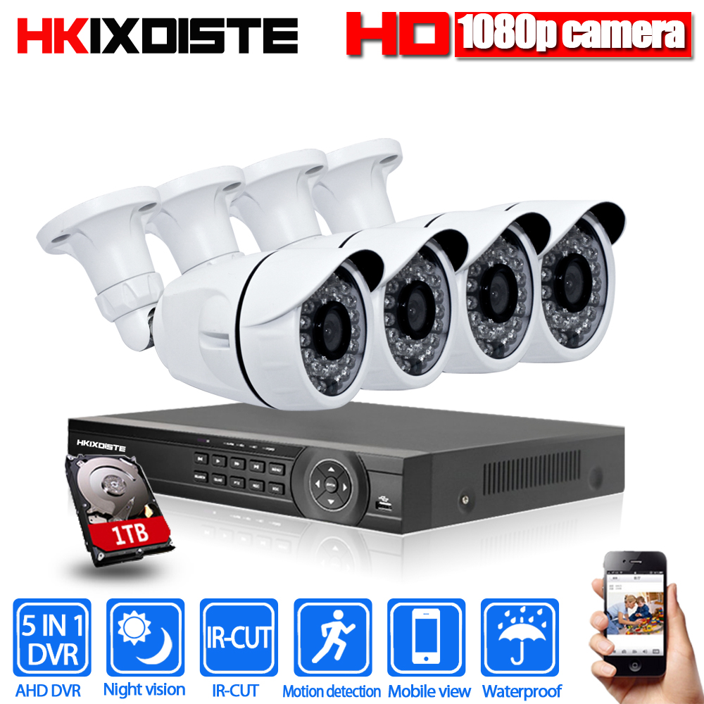 Home Security Camera System 8ch CCTV System 4 x 1080P CCTV Camera Surveillance System Kit Camaras Seguridad Home 1TB HDD