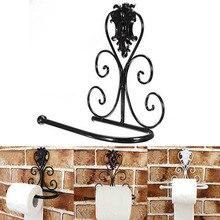 Toallero de baño de hierro negro Vintage portarrollos de papel higiénico estante de montaje en pared para baño soporte de papel higiénico 1 Uds