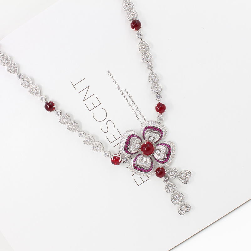 High Quality Cubic Zirconia Wedding flower Necklace Luxury band jewelry red Crystal pendant Bridal Jewelry For Bridesmaids