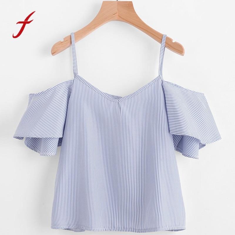 top women summer 2017 crop t shirt for women tee femme stripe branded t shirt women summer Off Shoulder