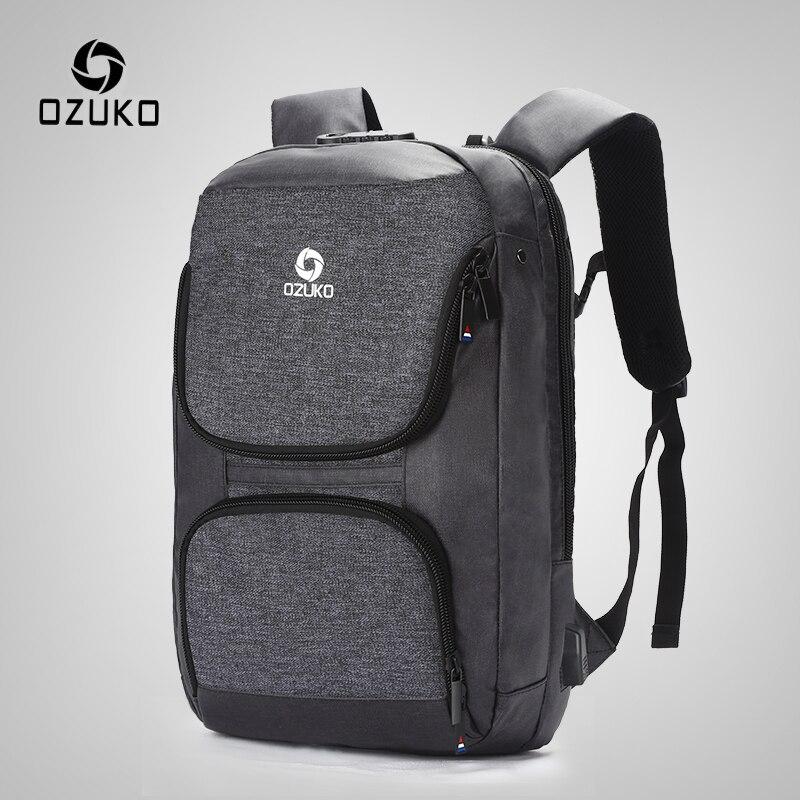 OZUKO 15.6 pouces sac à dos pour ordinateur portable hommes Anti-vol USB Charge sac à dos pour adolescent étanche voyage sac à dos homme sac d'école Mochila