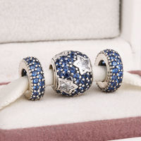 Fits Pandora Charms Bracelet And Necklace 925 Sterling Silver Charm Sets Blue Crystal Pave Ball Beads