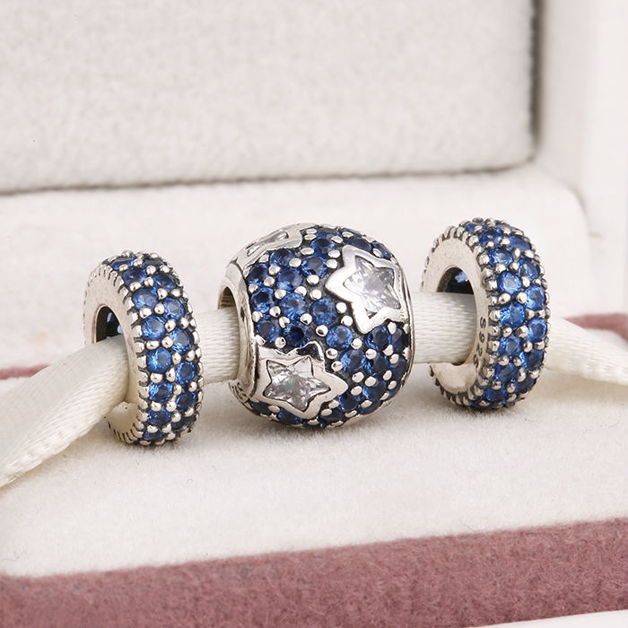 Fits Silver Charms Bracelet and Necklace 925 Sterling Silver Charm Sets Blue Crystal Pave Ball Beads for Women & Men Jewelry