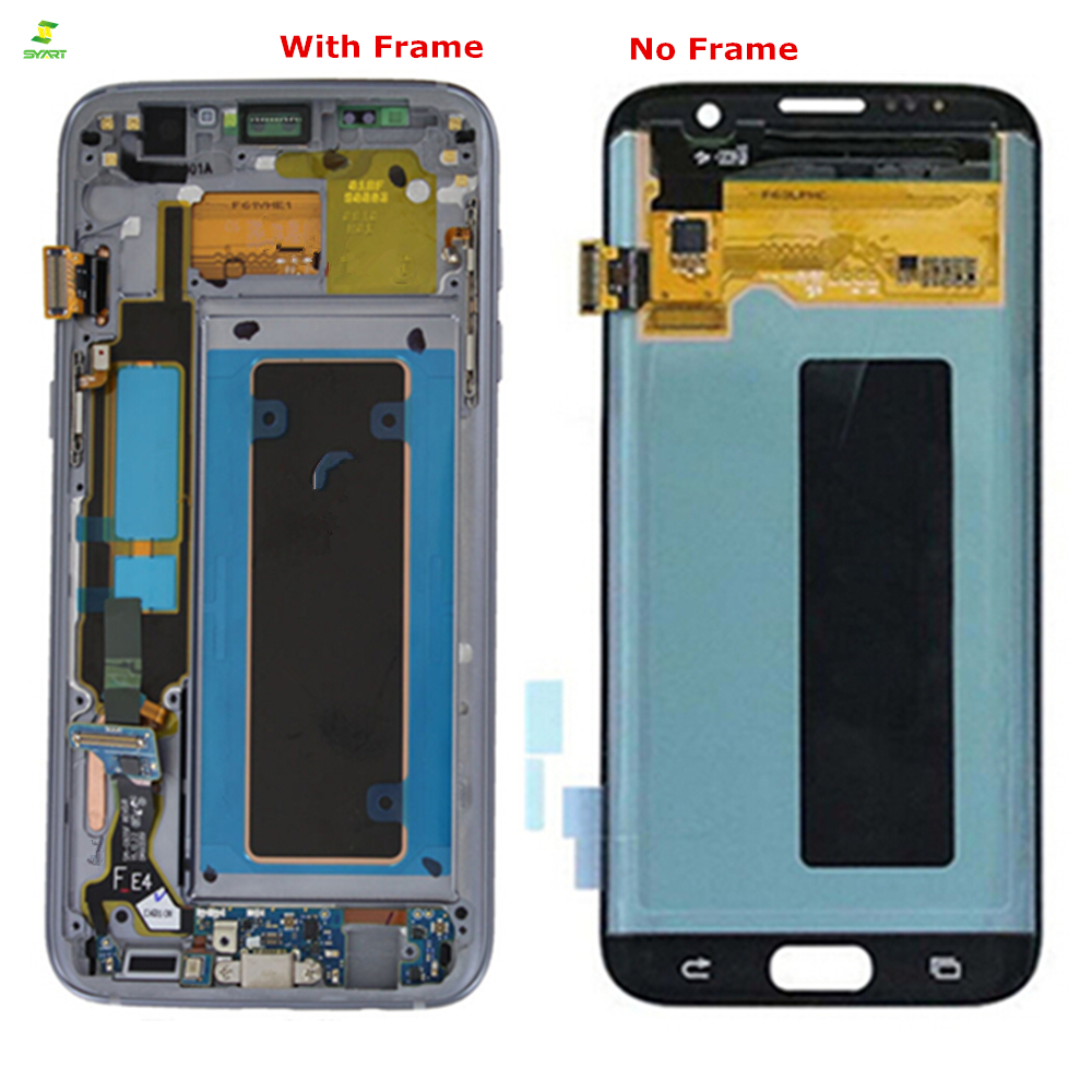 Borda 5.5 ''AMOLED Lcd Para SAMSUNG Galaxy S7 S7 G935 G935F borda LCD Screen Display Lcd de Toque Digitador LCDs assembléia Substituição