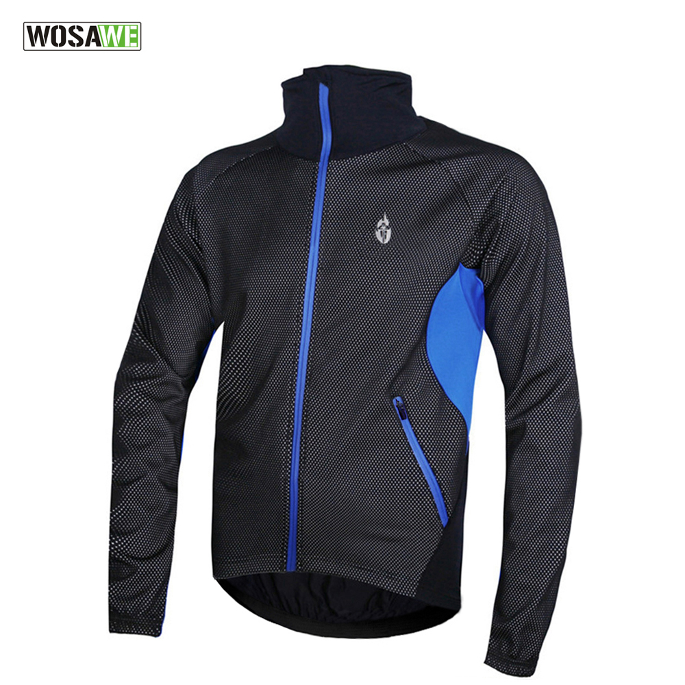 WOSAWE Fleece Thermal Winter Cycling Jacket Windproof Bike Bicycle Coat Clothing Long Warm up Jersey Waterproof Black with red veobike winter windproof thermal fleece reflective bike bicycle jersey warm cycling wind coat jackets pants set for men women