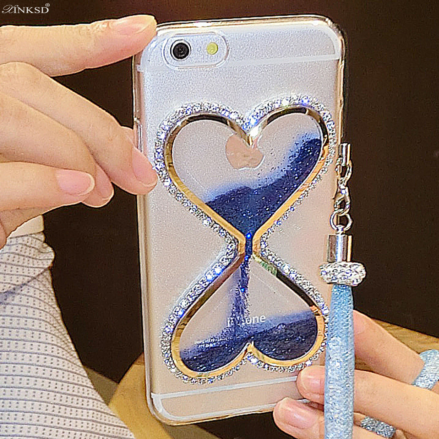 Women Girl Crystal Rhinestone Diamond+Bling Glitter Quicksand Phone Case For Samsung Galaxy J1 Mini Prime Cover Love heart cases ...