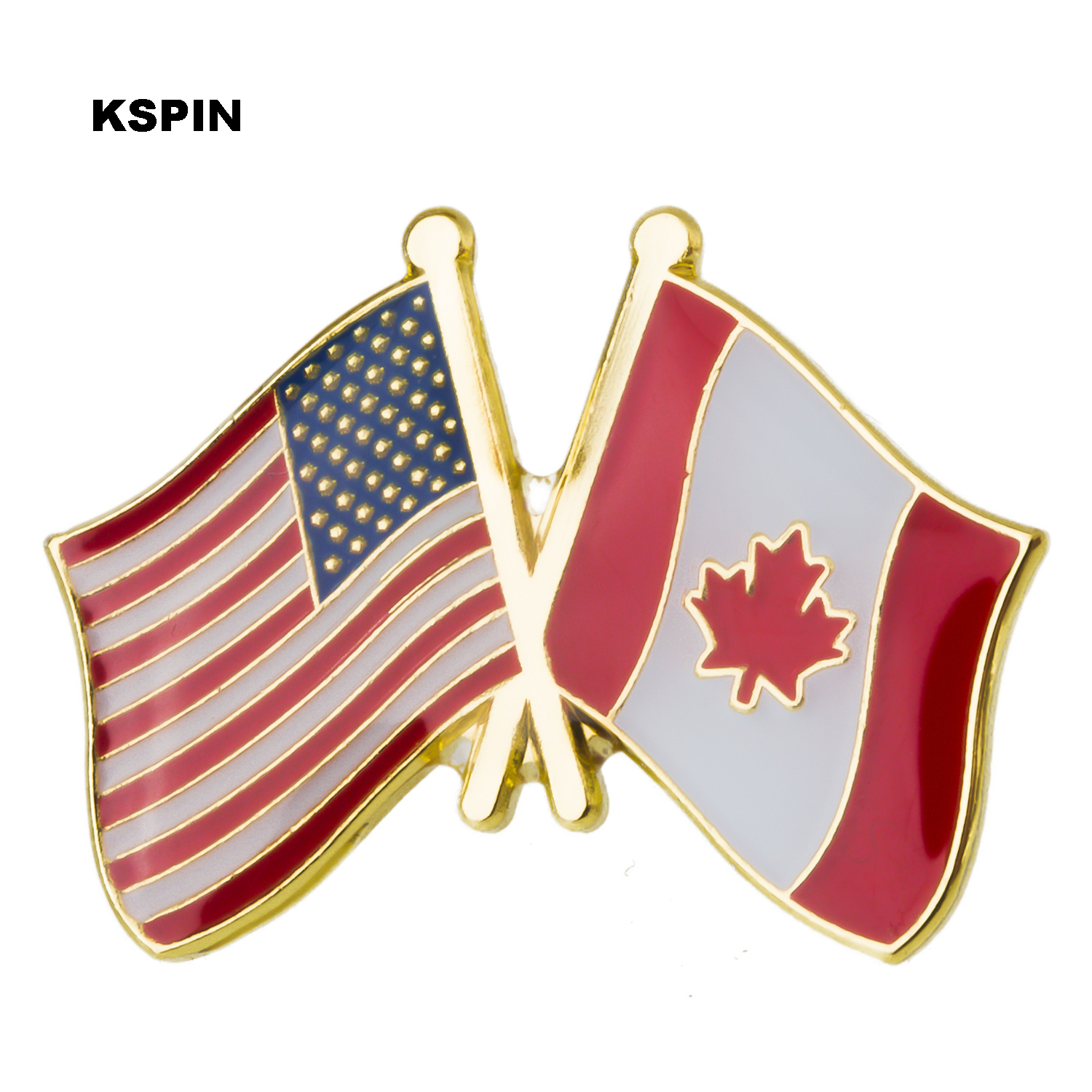 2019 New Style U.s.a Canada Friendship Flag Metal Pin Badges For Clothes In Badges Button On Brooch Plating Brooches For Jewelry Neither Too Hard Nor Too Soft Home & Garden
