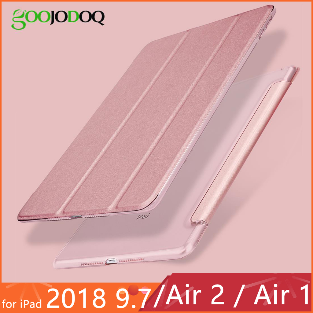For iPad 2018 Case 9.7 2017 Funda Ultra Slim PU Leather PC Hard Back Tri-fold Stand Case for iPad 2018 / iPad Air 2 Air 1 Case(China)
