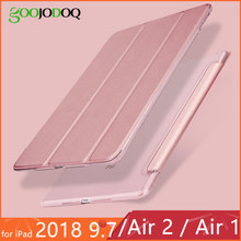 Für iPad 2018 Fall 9,7 Air 2 Funda Ultra Slim PU Leder PC Festplatte Zurück Stand Case für iPad 6th generation iPad Air 2 Air 1 Fall(China)