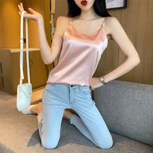 Fashion Silk Tops Women Tank Streetwear Satin Sexy Sleeveless Top Plus Size XXL Ladies Camisole Bottom Shirt
