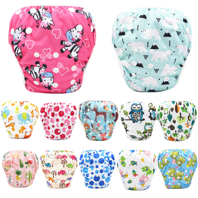 Baby Swim Diaper Waterproof Adjustable Cloth Diapers Pool Pant Swimming Diaper Cover Reusable Washable Baby Nappies For 3-15KG