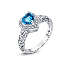 Jrose Heart Jewelry Love Engagement Rings London Blue Topaz White CZ Diamond 18K White Gold Plated Fashion Ring for Women 2016