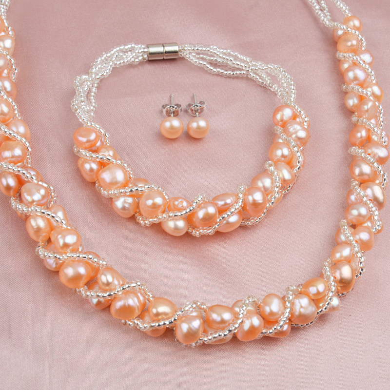 ASHIQI Real Natural Freshwater Pearl Handmade Jewelry Sets More Necklace Bracelet 925 Silver Earrings for Women