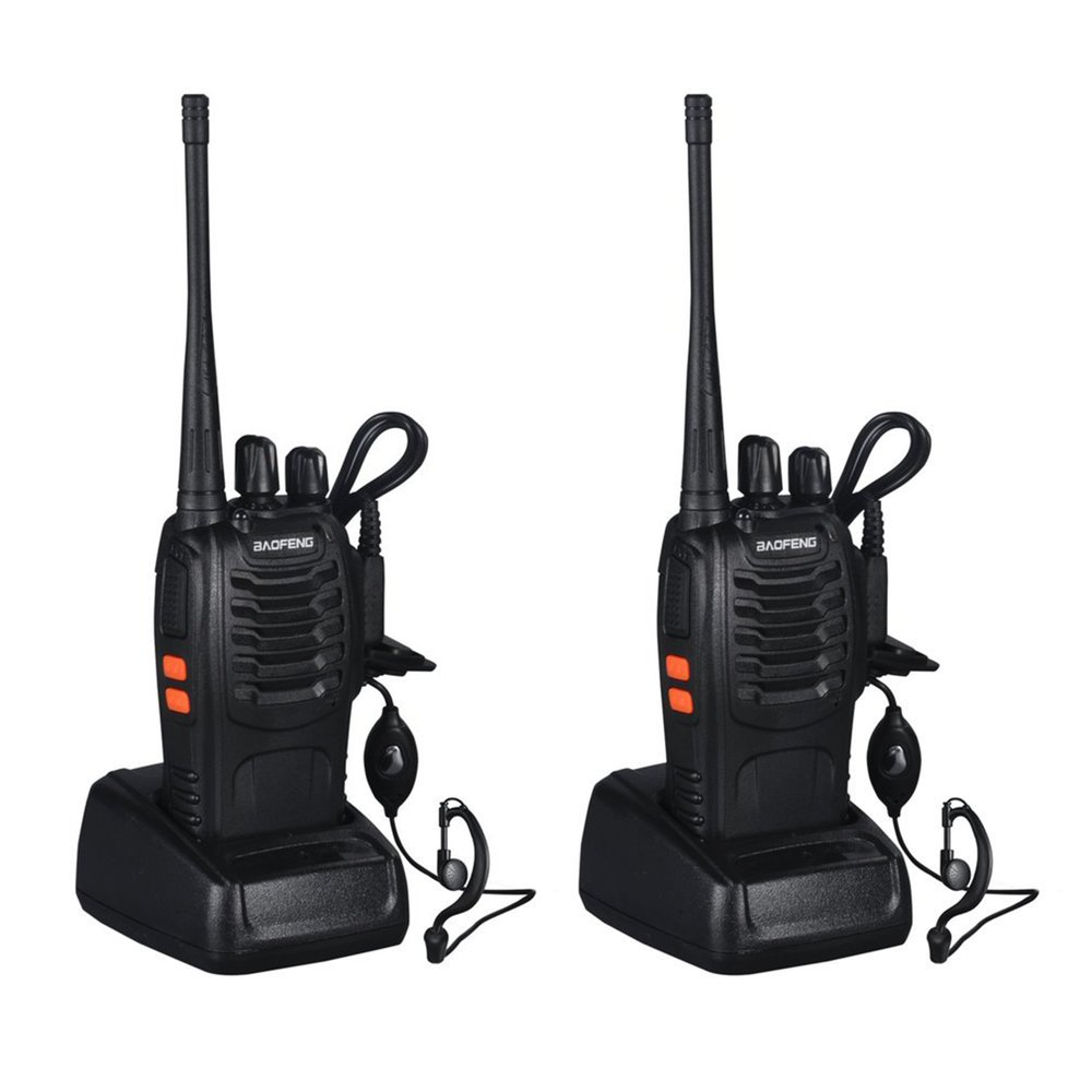 VHF/UHF Ricetrasmettitore FM 400-470 mhz Ricaricabile Walkie-talkie Torcia Elettrica 5 w 16Ch Con Auricolare 2 -Radio bidirezionale PER Baofeng BF-888S