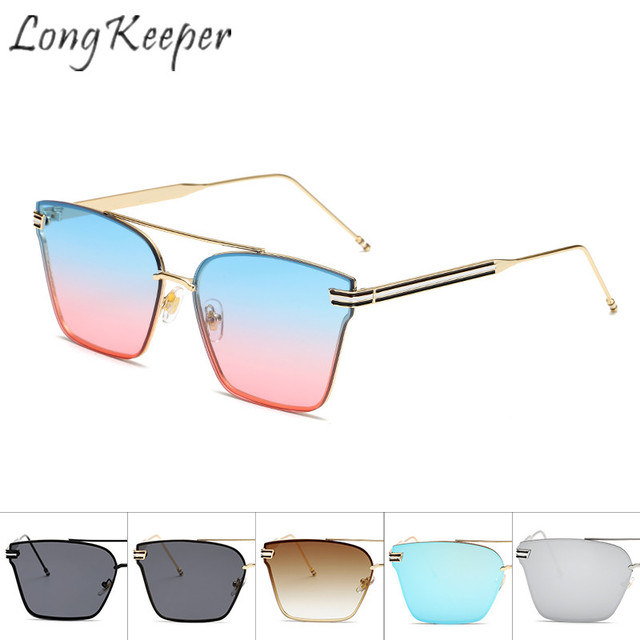 2159fde0ca62 Long Keeper Cat Eye Sunglasses Men Women Retro Square Sun Glasses Eyewear  Eyeglasses Metal Frame UV400 Double Beam Oculos De Sol