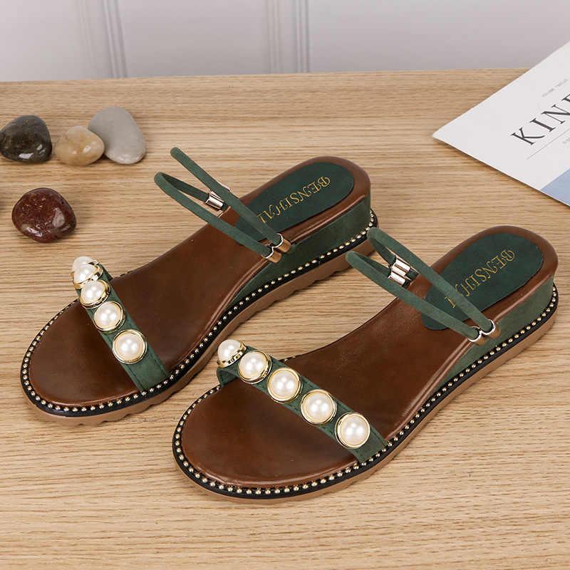 ad44845a61be43 ... Women Black  Green   Apricot Wedge Sandals 2018 Summer Platform Wedges  Fashion Pearls Girls Platform ...