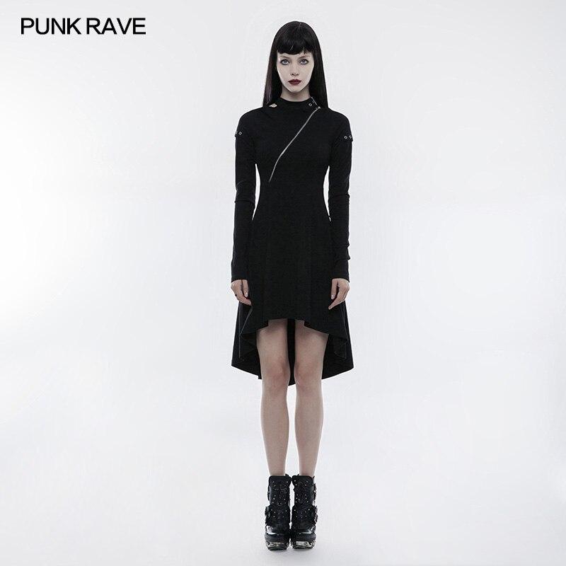 PUNK RAVE Women Steampunk Sexy Club Dresses Casual Black Long Sleeve Gothic Llolita