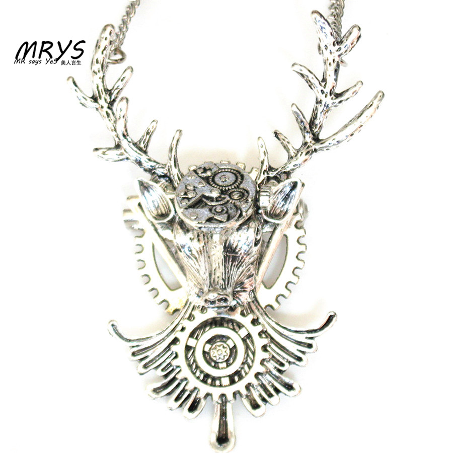steampunk gothic elk deer antler clock face gears brooch pins pendant chain charm women men boys