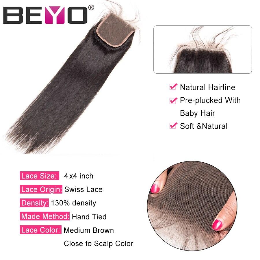 Beyo 4 x 4 Մարդու մազերի ուղիղ փակումը Beyo 4 - Մարդու մազերը (սև) - Լուսանկար 3