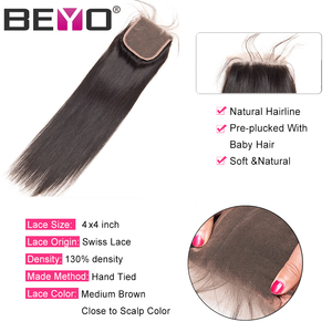 Image 4 - Beyo 4 x 4 Straight Human Hair Closure Free/Middle/Three Part Peruvian Hair Lace Closure With Baby Hair 10 24 Inch Non Remy Hair