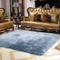 Tapis en laine véritable pour salon | Décoration de maison, tapis en fourrure pour chambre à coucher, tapis de sol épais pour vestiaire, couverture de lit Shaggy, tapis pelucheux pour enfants