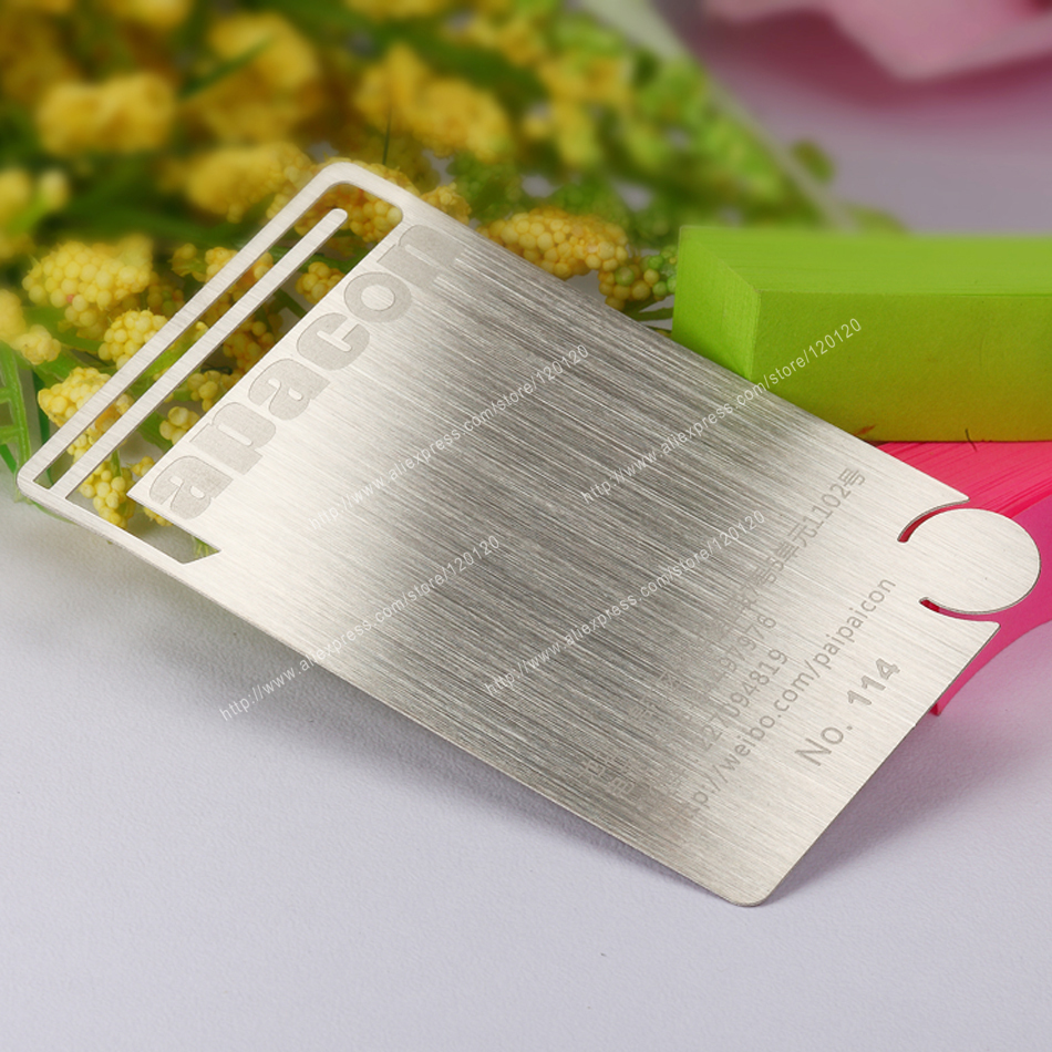 Personalized holed punched quality wire drawing stainless steel personalized holed punched quality wire drawing stainless steel business metal card in business cards from office school supplies on aliexpress colourmoves