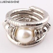 Новинка 2017 года горячие ювелирные изделия Натуральный камень Бусины Талисманы змея браслет для Для женщин Имитация Жемчуга регулируемый браслет женский B326