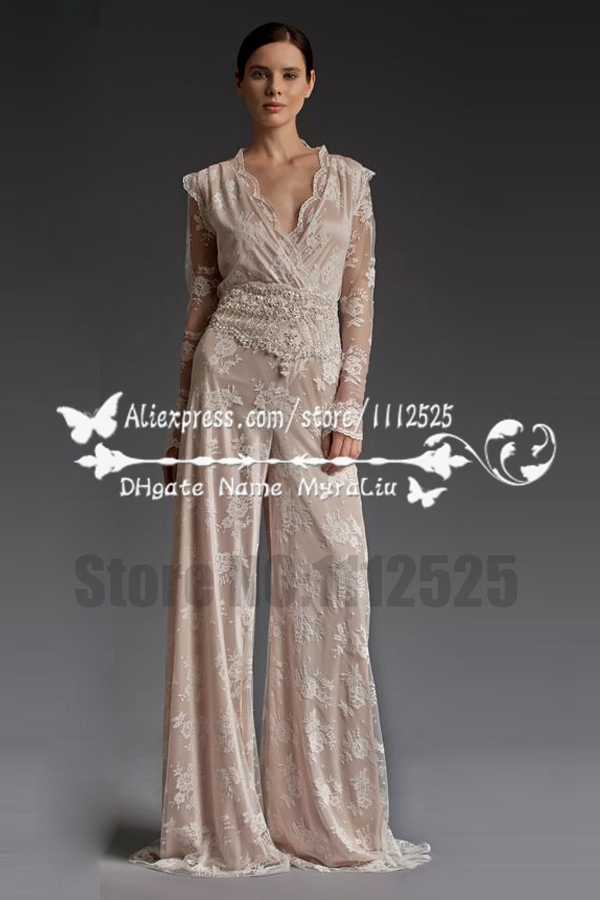 AWP 1012 New style charming lace wedding dresses pant suits with ...