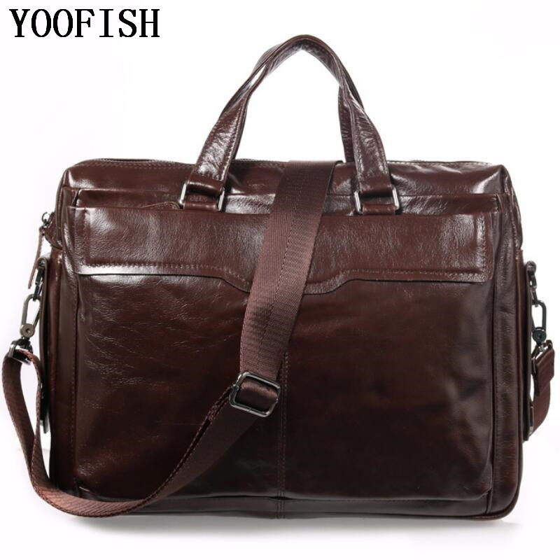 YOOFISH  Men's Briefcase Leather Laptop Bag 14'' Genuine Leather  Men Messenger Shoulder Bags Men's Crossbody Bags Handbags mva genuine leather men bag business briefcase messenger handbags men crossbody bags men s travel laptop bag shoulder tote bags