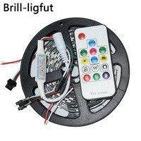 WS2812B WS2812 цветных (RGB) светодиодных лент: 5 м DC5V 30/60 светодиодов/m 2812 IC встроенным индивидуально адресуемых SMD5050 RGB полноцветная светодиодная лен...